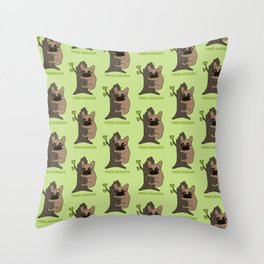 Black mask Frenchie is an environmental friendly tree hugger Throw Pillow