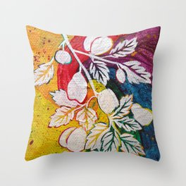 Leaves on the World Tree: Circassian Cork Oak with Mixed Fruit Throw Pillow