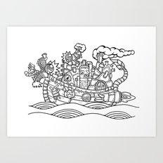 dragon ship Art Print
