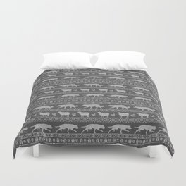Ugly christmas sweater | Border collie grey Duvet Cover