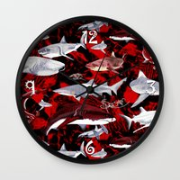 sharks Wall Clocks featuring Sharks. by Sylvie Heasman
