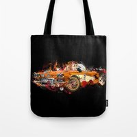 psychadelic Tote Bags featuring cars by mark ashkenazi