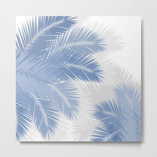 BLUE TROPICAL PALM TREES Metal Print