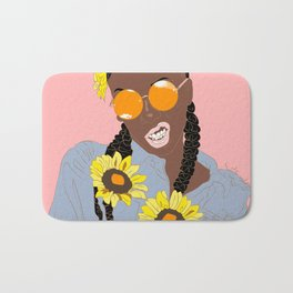 Black Flower Goddess - Digital Vector Drawing Bath Mat