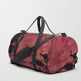 Marble texture background black and cream , pink shades . Duffle Bag