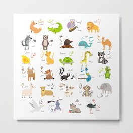 arabic Alphabet animals  Metal Print
