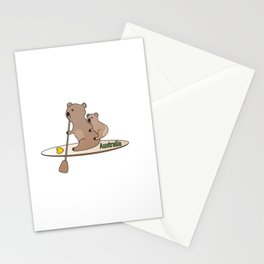 Koala Mom and Joey Paddleboarding in Australia Stationery Cards