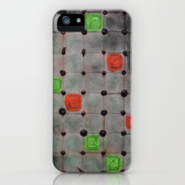 Grid with Green and Orange Highlights iPhone Case