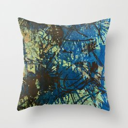 Thistles in Blues Greens  Throw Pillow