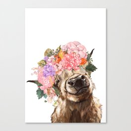Highland Cow with Flower Crown Canvas Print