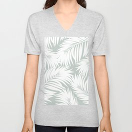 Palm Tree Fronds White on Rainwashed Maui Hawaii Tropical Graphic Design Unisex V-Neck