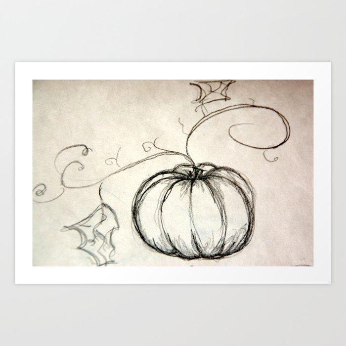 sketchy  pencil pumpkin Art Print