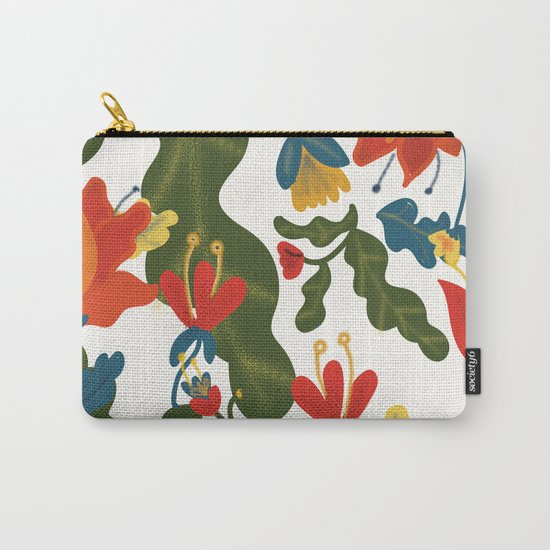 Tropical Flower Pattern Carry-All Pouch