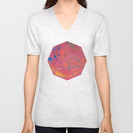 Marbling 3, Tie Dye Effect Abstract Pattern Unisex V-Neck