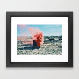PINK SMOKE - SUIT CASE Framed Art Print