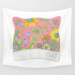 Pink Pussy Cat Hat Wall Tapestry