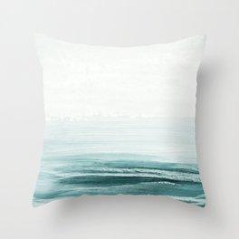 hazy emerald sea Throw Pillow