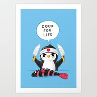 chef Art Prints featuring Penguin Chef by Freeminds