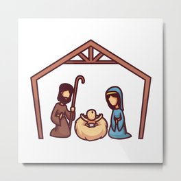 Mary and Joseph Sit and Look at the Baby Jesus Lyi Metal Print