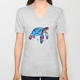 Sea Turtle, Blue Purple Turtle illustration, Sea Turtle design Unisex V-Neck