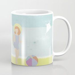 Girl at the beach with kite and ball in the 1950's vintage Coffee Mug