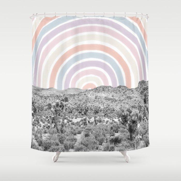 Happy Rainbow Rays // Scenic Desert Cactus Hill Landscape Watercolor Collage Dorm Room Decor Shower Curtain
