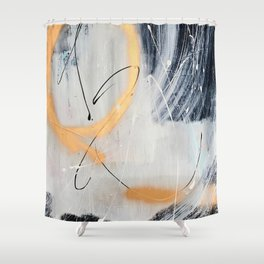 Midnight Time Lapse: a minimal, abstract mixed-media piece by Alyssa Hamilton Art in Gold, Black Shower Curtain