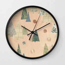 Retro Christmas Light Wood Wall Clock