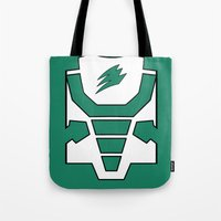 power ranger Tote Bags featuring Green Spirit Ranger by JoSumdac