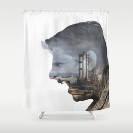 Angry shouting man face on cityscape Shower Curtain