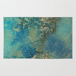 Blue And Gold Modern Abstract Art Painting Rug