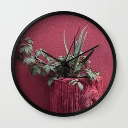 Pink and plant Wall Clock