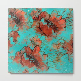 Abstract pink orange turquoise watercolor poppies Metal Print