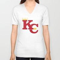 kansas city V-neck T-shirts featuring Kansas City Sports Red by Haley Jo Phoenix