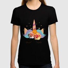 Cute Sleeping Unicorn with Flowers T-Shirt. T-shirt
