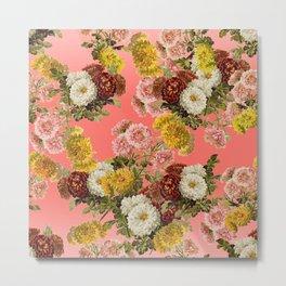 Chrysanthemums Floral Pattern in Living Coral Metal Print