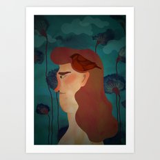 lady with bird Art Print