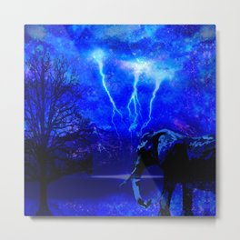ELEPHANT LIGHTNING AND AFRICAN NIGHTS Metal Print