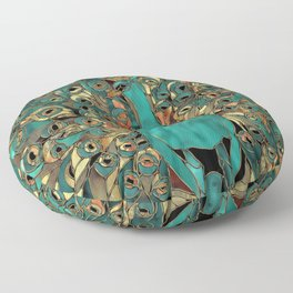 Aqua and Gold Peacock Floor Pillow