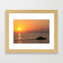 Spectacular sunset at Rick's Cafe, Negril, Jamaica Framed Art Print