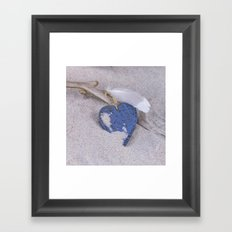 Blue Heart and feather on the Beach Framed Art Print