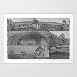 Fortress monastery collage Art Print