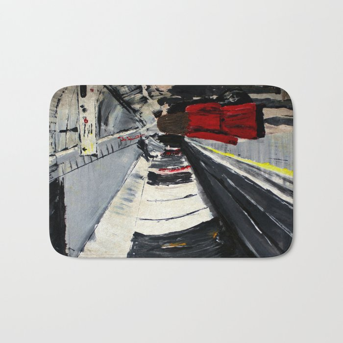 London Underground Subway Woman In Red Coat Bath Mat