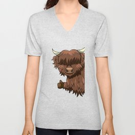 Thumbs Up Highland Cow Heilan Cattle Unisex V-Neck
