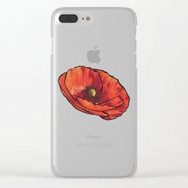 Orange Poppy Flower Clear iPhone Case