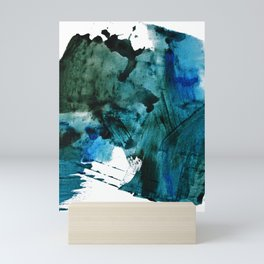 Scenic Route: a pretty, minimal abstract piece in blue and green by Alyssa Hamilton Art Mini Art Print