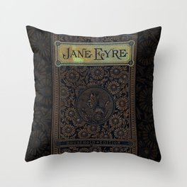 Jane Eyre by Charlotte Bronte, Vintage Book Cover Throw Pillow