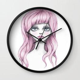 Flamingo girl - Pink hair girl Wall Clock