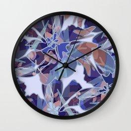 Blue Batik Floral Wall Clock