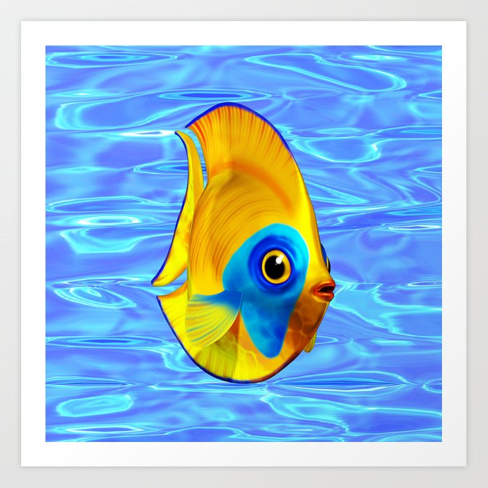 Tropical Fish on Clear Ocean Water 3D Art Print by bluedarkatlem